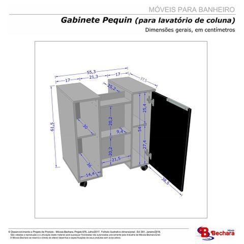 Imagem de Gabinete Armário Banheiro Para Pia de Coluna Pequin Branco