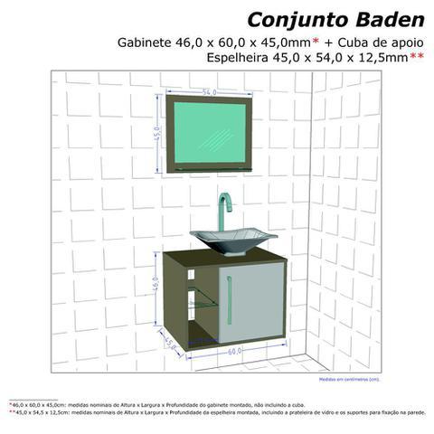 Imagem de Gabinete Armario Banheiro Sena Preto/Branco C/ Pia Preta