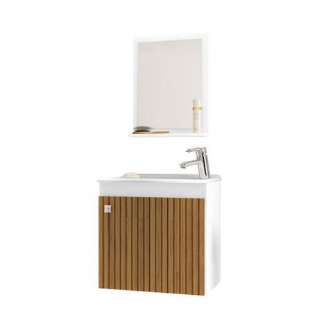 Imagem de Gabinete Armário para Banheiro Pia Siena Branco Efeito Ripa