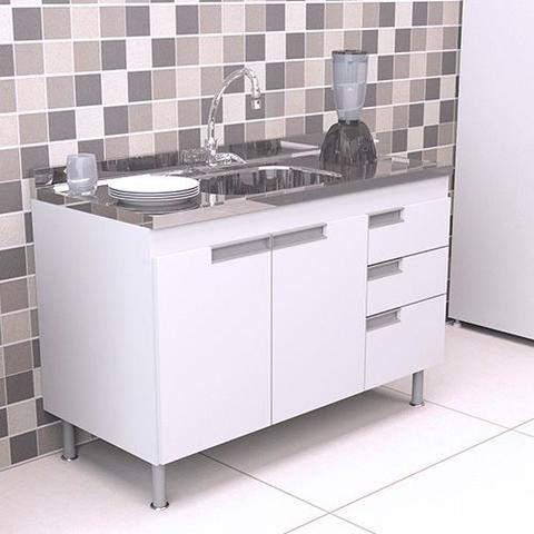 Imagem de Gabinete Balcão para Pia de Cozinha 1,20m San Marino BRANCO
