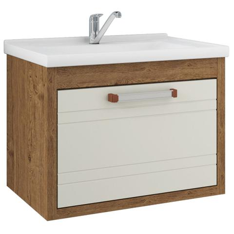 Imagem de Gabinete Banheiro 60cm 1 Porta e Pia Jade MGM Amendoa/Off white 5