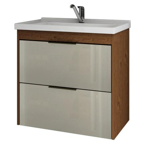Imagem de Gabinete Banheiro 60cm Porta Vidro com Pia Lavanda Amendoa/Off White