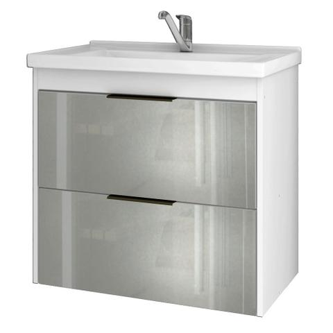 Imagem de Gabinete Banheiro 60cm Porta Vidro com Pia Lavanda Branco