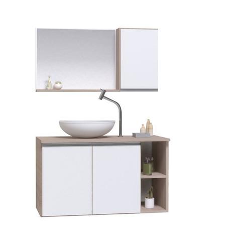 Imagem de Gabinete banheiro armário 80cm + cuba vidro branca + espelheira madeirado/branco