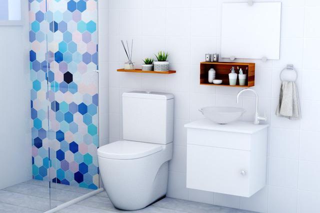 Imagem de Gabinete Banheiro Armário Cuba Vidro, Espelho 44cm VDRD London Barbaresco e Prado