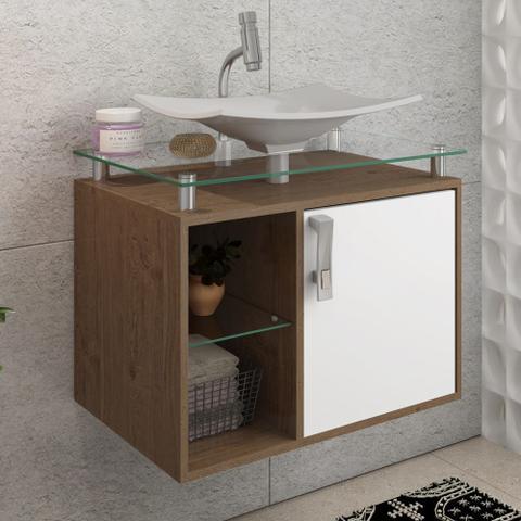 Imagem de Gabinete Banheiro com Cuba e Prateleira Vidro Lagos MGM Amendoa/Branco