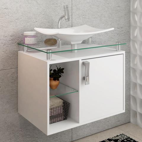 Imagem de Gabinete Banheiro com Cuba e Prateleira Vidro Lagos MGM Branco