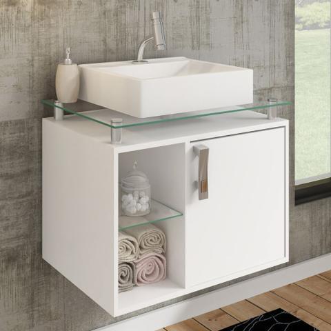 Imagem de Gabinete Banheiro com Cuba e Prateleira Vidro Porto MGM Branco