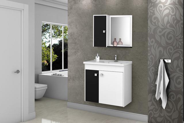 Imagem de Gabinete Banheiro com Pia Munique Branco_Preto