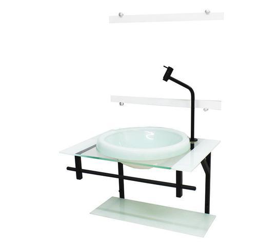 Imagem de Gabinete com cuba para banheiro de vidro ap 60cm com cuba chapeu - branco