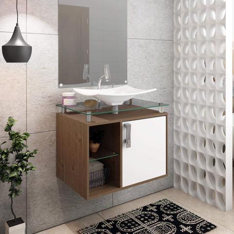 Imagem de Gabinete de Banheiro 1 Cuba sobreposta em base de vidro Lagos MGM Móveis Amêndoa/Branco