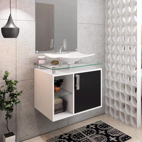 Imagem de Gabinete de Banheiro 1 Cuba sobreposta em base de vidro Lagos MGM Móveis Branco/Preto