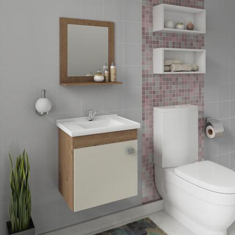 Imagem de Gabinete De Banheiro 100% Mdf Iris 44 Cm Com Espelho Amendoa/Off White - Mgm