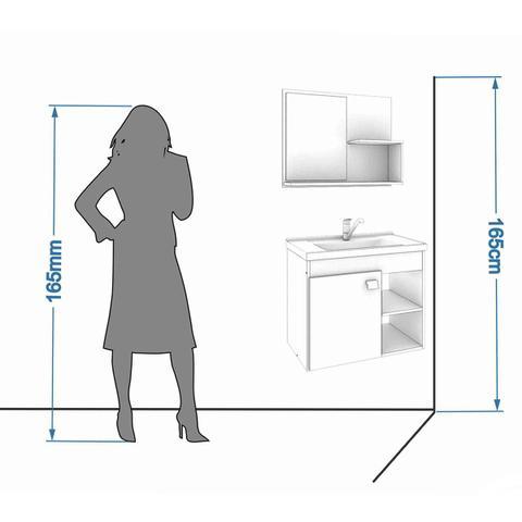 Imagem de Gabinete De Banheiro 100% Mdf Lotus 55 Cm Com Espelho Cafe/Branco - Mgm