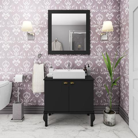 Imagem de Gabinete De Banheiro Provençal Completo Balcão Cuba Espelho Preto