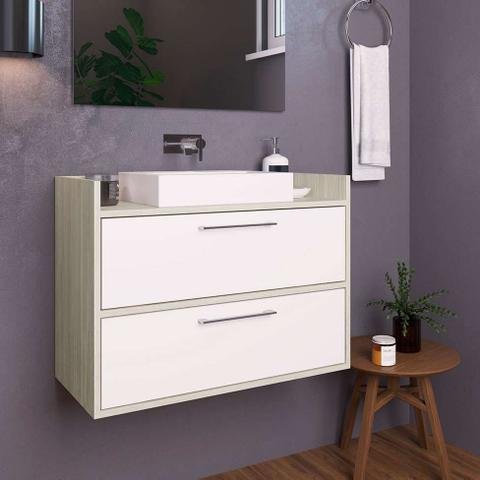 Imagem de Gabinete de Banheiro Sinclair VII 2 PT Nogal e Branco