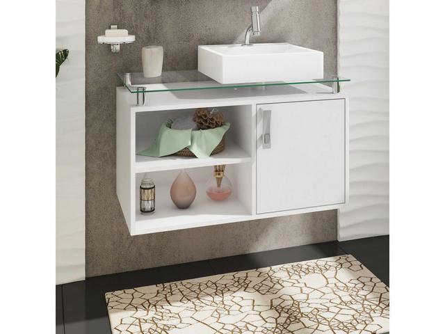 Imagem de Gabinete de Banheiro Suspenso Braga - Branco - Mgm Móveis