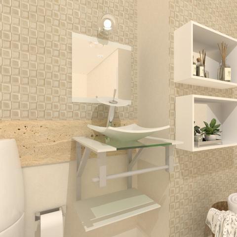 Imagem de Gabinete de vidro 40cm ac com cuba quadrada - branco