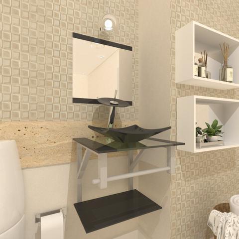 Imagem de Gabinete de vidro 40cm ac com cuba quadrada - grafite