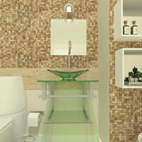 Imagem de Gabinete de vidro 40cm ac com cuba quadrada - incolor