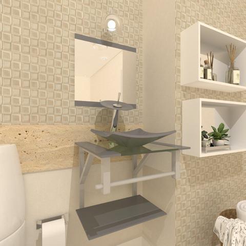Imagem de Gabinete de vidro 40cm ac com cuba quadrada - prata