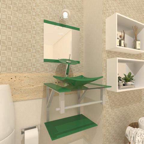 Imagem de Gabinete de vidro 40cm ac com cuba quadrada - verde