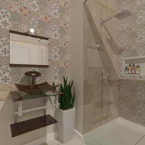 Imagem de Gabinete de vidro 45cm ac com cuba quadrada - marrom