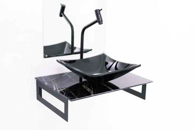 Imagem de Gabinete de vidro 50cm com cuba quadrada - mármore preto