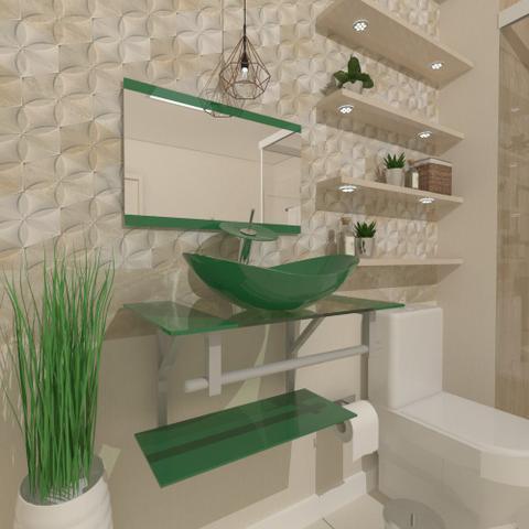 Imagem de Gabinete de vidro 60cm ac com cuba oval - verde