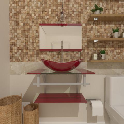 Imagem de Gabinete de vidro 60cm ac com cuba oval - vermelho cereja