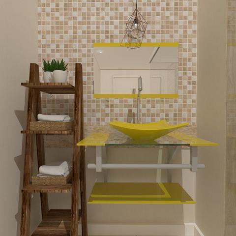 Imagem de Gabinete de vidro 60cm ac com cuba quadrada - amarelo
