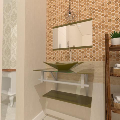 Imagem de Gabinete de vidro 60cm ac com cuba retangular - ouro envelhecido