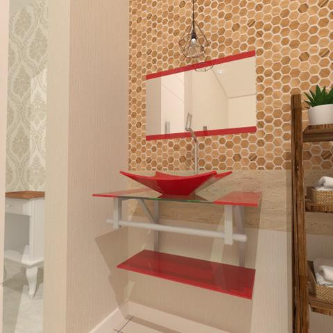 Imagem de Gabinete de vidro 60cm ac com cuba retangular - vermelho ferrari