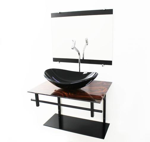 Imagem de Gabinete de vidro 60cm ap com cuba oval - madeira nogueira