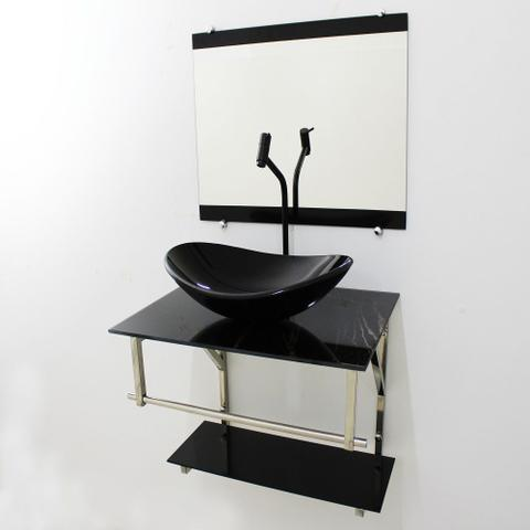 Imagem de Gabinete de vidro 60cm iq inox com cuba oval - mármore preto