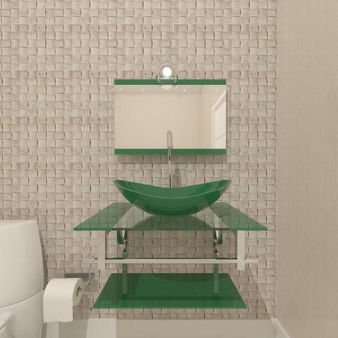 Imagem de Gabinete de vidro 60cm iq inox com cuba oval - verde
