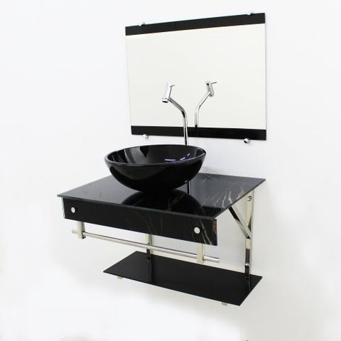 Imagem de Gabinete de vidro 60cm iqx inox com cuba redonda - mármore preto