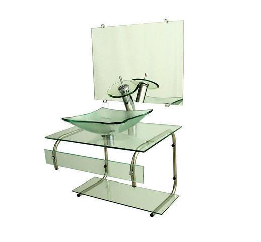Imagem de Gabinete de vidro 60cm it inox com cuba quadrada - incolor