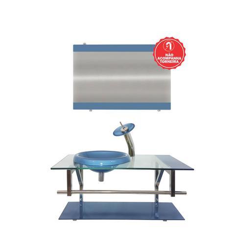 Imagem de Gabinete de vidro 80cm iq inox com cuba chapéu redonda - azul