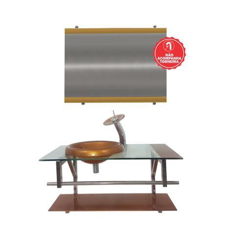 Imagem de Gabinete de vidro 80cm iq inox com cuba chapéu redonda - dourado real