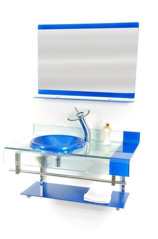 Imagem de Gabinete de vidro 90cm curvado duplo inox com cuba chapéu - azul escuro