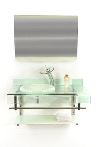 Imagem de Gabinete de vidro 90cm curvado duplo inox com cuba chapéu - branco