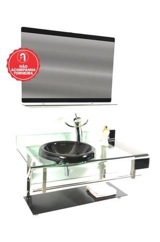Imagem de Gabinete de vidro 90cm curvado duplo inox com cuba chapéu - grafite