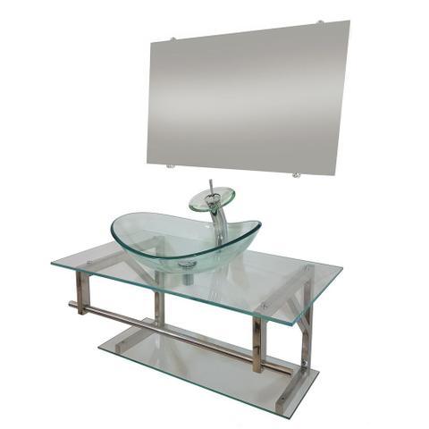 Imagem de Gabinete de vidro 90cm iq inox com cuba oval - incolor