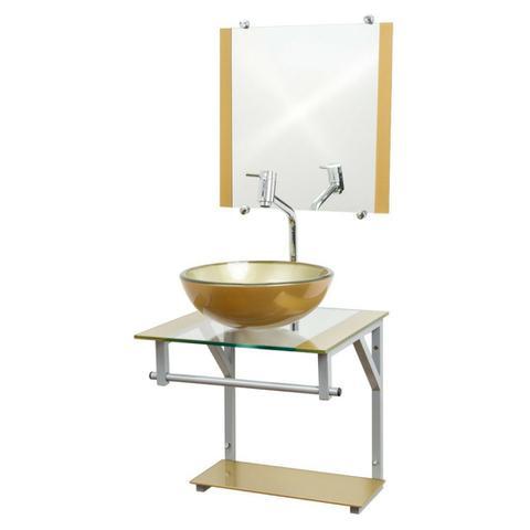 Imagem de Gabinete de Vidro Para Banheiro 40x40cm - Dourado - Cuba Redonda 30cm - Dahora