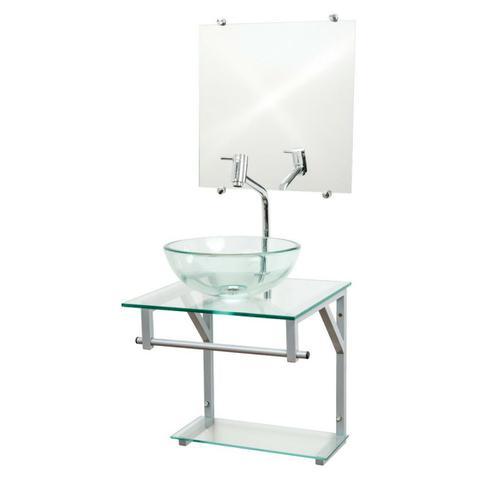 Imagem de Gabinete de Vidro Para Banheiro 40x40cm - Incolor - Cuba Redonda 30cm - Dahora