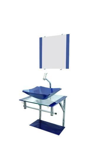 Imagem de Gabinete de Vidro Para Banheiro 40x40cm + Torneira Link - Azul Escuro - Cuba Chanfrada 33cm - Dahora