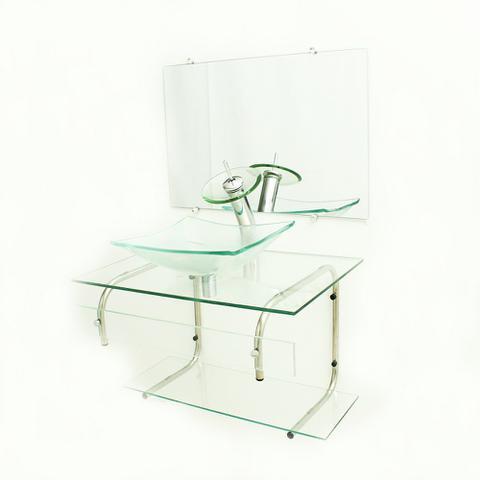 Imagem de Gabinete de vidro para banheiro 70cm it inox com cuba retangular - incolor