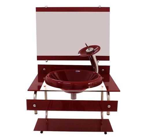 Imagem de Gabinete de vidro para banheiro itxx 60cm inox + torneira ibiza vermelho cereja