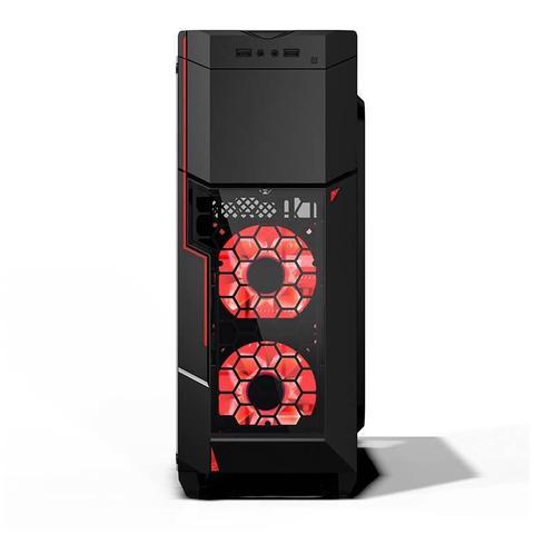 Imagem de Gabinete Gamer AZZA Crimson 211G Lateral de Vidro LED Vermelho, CSAZ-211G
